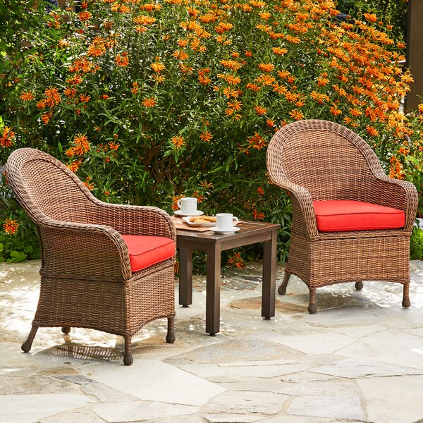 Acree Hacienda Heights 3 Piece Bistro Set with Cushions by One Allium Way