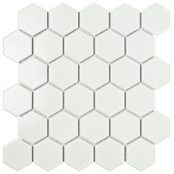 Retro Hexagon 2 x 2 Porcelain Mosaic Tile in Glossy White by EliteTile