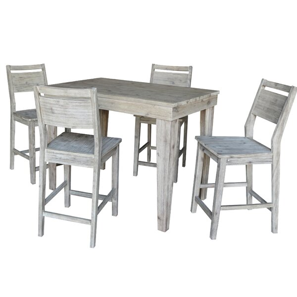 Gamboa Solid Wood Counter Height 5 Piece Pub Table Set by Gracie Oaks