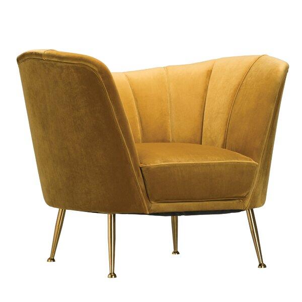 Ferrin Velvet Upholstered Barrel Chair by Everly Quinn
