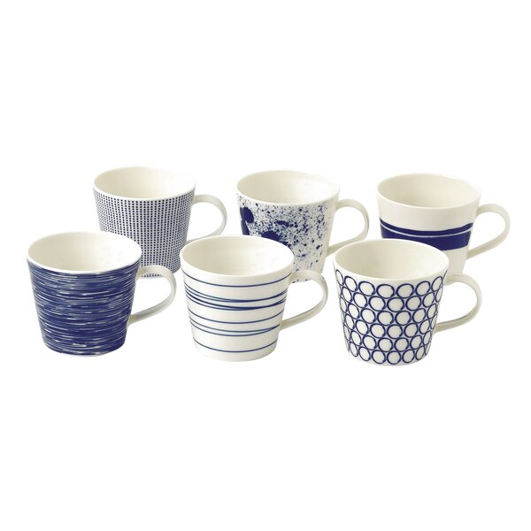 Pacific 13 oz. Accent Mugs (Set of 6) by Royal Dou