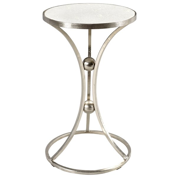 Bellanger Marble and Wrought Iron End Table by Everly Quinn
