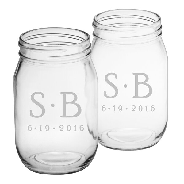 Dot Monogram and Date Drinking Jar (Set of 2) by Susquehanna Glass