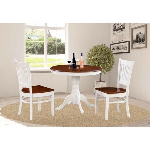 Milagros 3 Piece Solid Wood Dining Set by August Grove August Grove