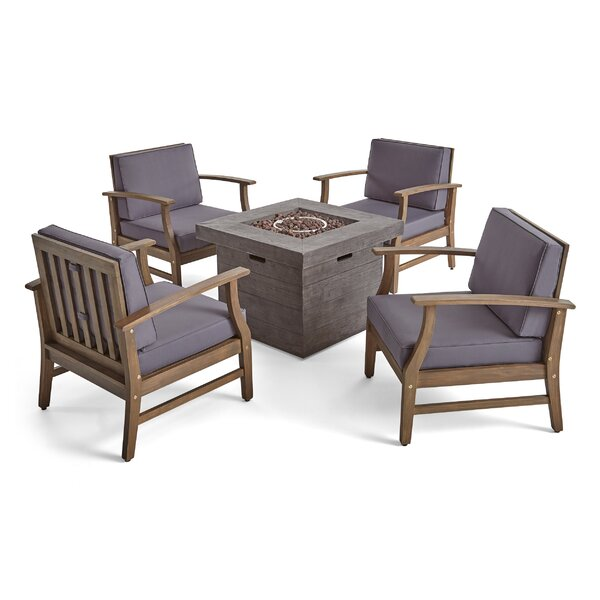 Bridgeman Outdoor 5 Piece Multiple Chairs Seating Group with Cushions by Foundry Select