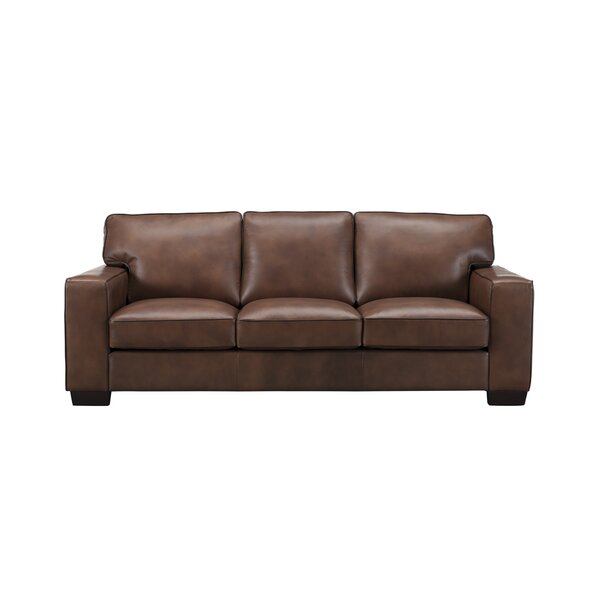 Tennie Craft Leather Sofa by Three Posts