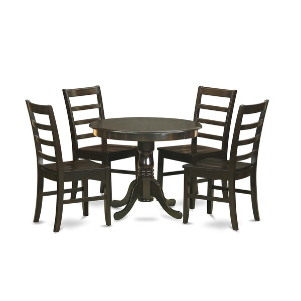 5 Piece Solid Wood Dining Set by East West Furniture