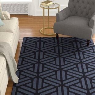 Top Peever Hand-Loomed Navy Area Rug By Charlton Home