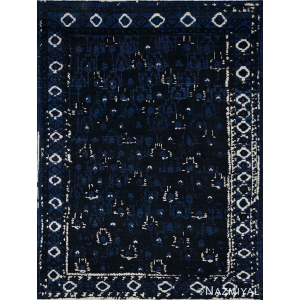 One-of-a-Kind Hand-Knotted New Age Oushak Blue 9' x 12' Wool Area Rug
