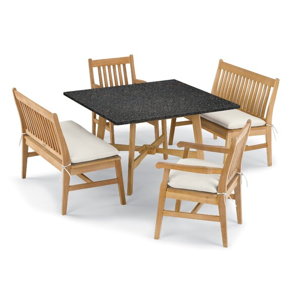 Natural Myres 5 Piece Dining Set with Cushions by Beachcrest Home