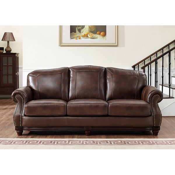 Highest Quality Sneyd Park Leather Sofa by Canora Grey by Canora Grey