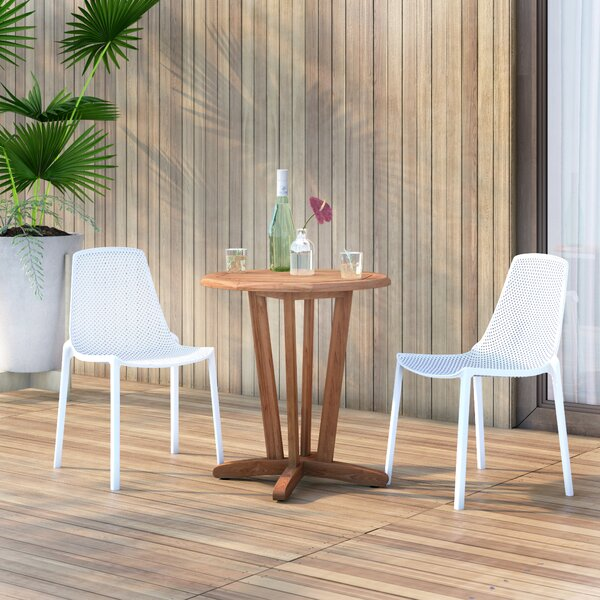Claudio 3 Piece Teak Bistro Set by Mercury Row
