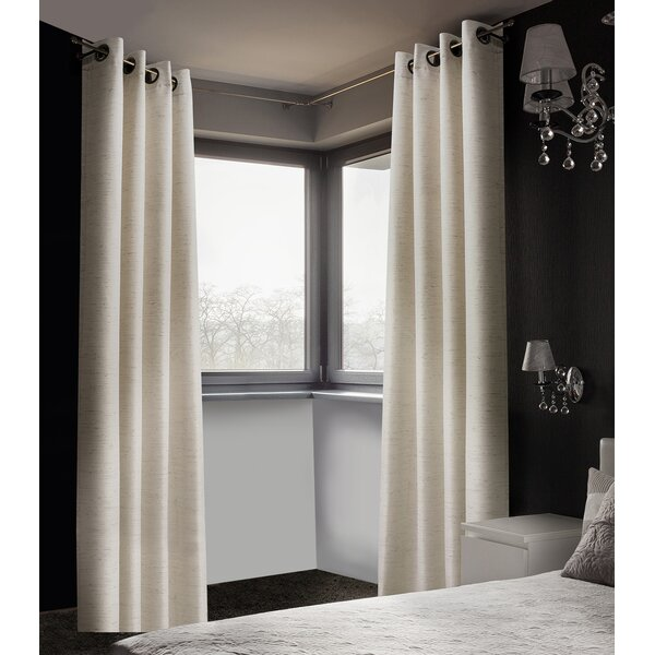 Arends Solid Room Darkening Thermal Grommet Curtain Panels (Set of 2) by Three Posts