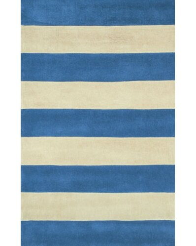 Beach Rug Blue/Ivory Boardwalk Stripes Rug by American Home Rug Co.