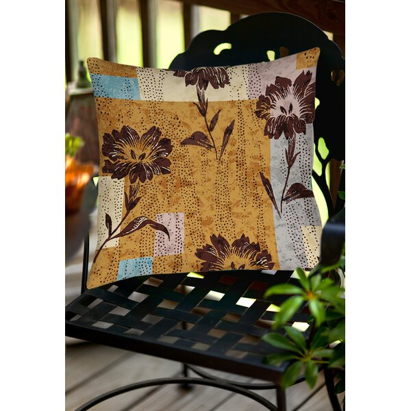 Floral Study in Blocks Indoor/Outdoor Throw Pillow by Manual Woodworkers & Weavers