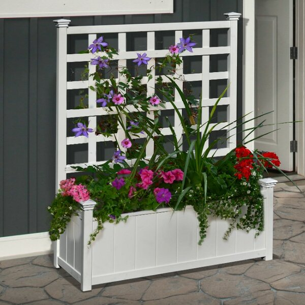 Huron Plastic Planter Box with Trellis by New England Arbors