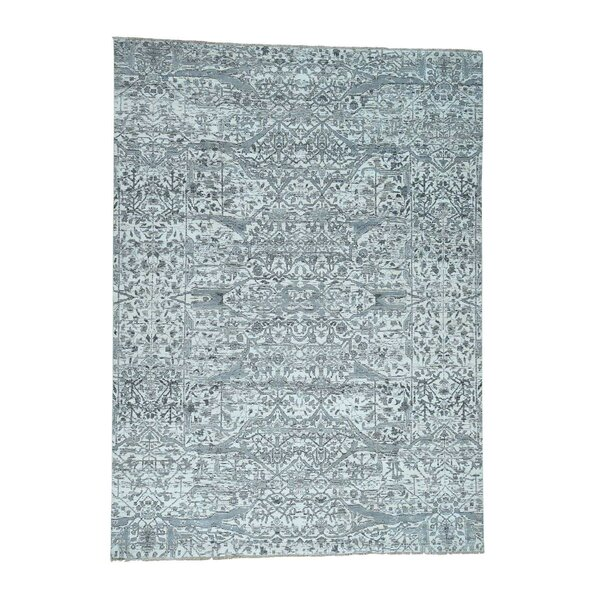 One-of-a-Kind Kennard Hand-Knotted Silver Blue Area Rug by Canora Grey