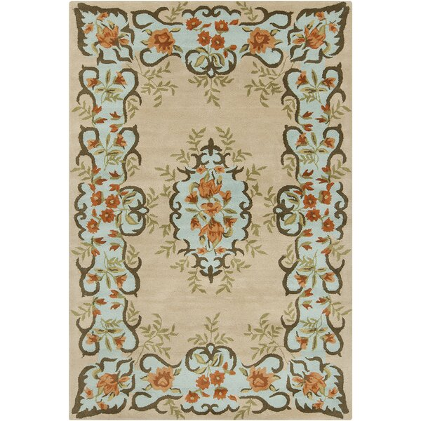 Polanco Hand Tufted Wool Beige/Blue Area Rug by August Grove