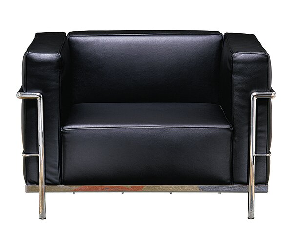 Le Corbusier Grand Firm Comfort Leather Lounge Chair by Gordon International