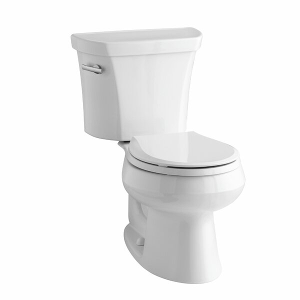 Wellworth Two-Piece Round-Front 1.28 GPF Toilet with Class Five Flush Technology, Left-Hand Trip Lever, Insuliner Tank Liner and Tank Cover Locks by Kohler