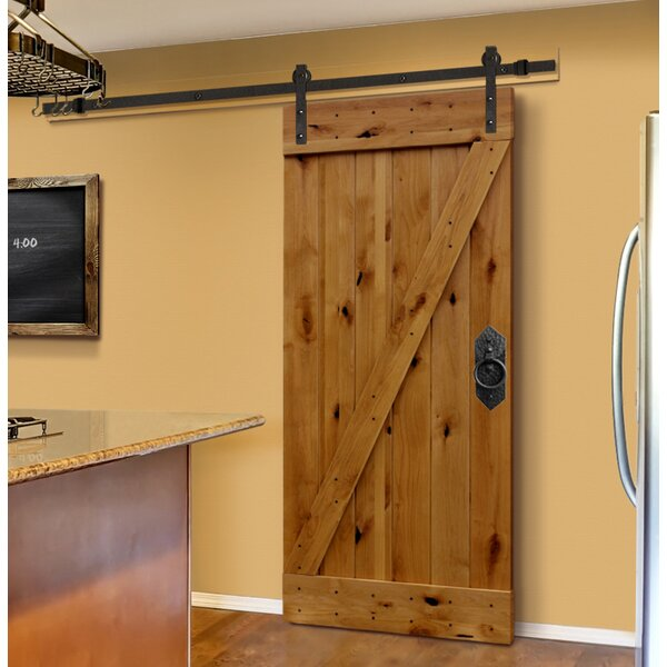 Plank Knotty Unfinished Solid Panelled Wood Interior Barn Door by Creative Entryways