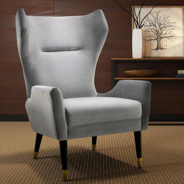 Huey Velvet Wingback Chair by Everly Quinn