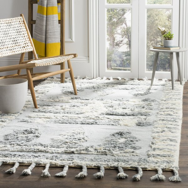 Maffei Knotted Cotton Gray Area Rug by Mistana