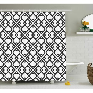Clearance Keiko Arabesque Chevron Pattern With Middle Eastern Effects Traditional Minimalist Design Shower Curtain By Ebern Designs