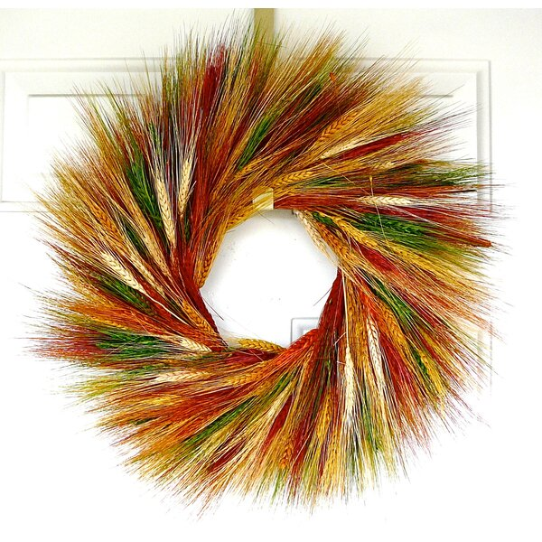 Sunset Wheat Wreath by Dried Flowers and Wreaths L