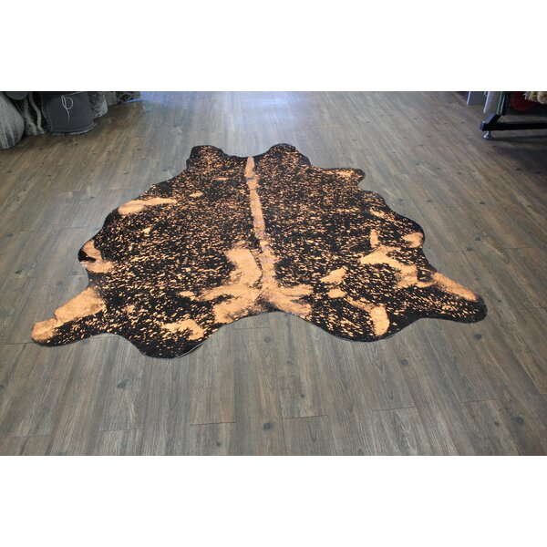 One-of-a-Kind Nealy Hand-Woven Cowhide Black/Beige Area Rug by Brayden Studio