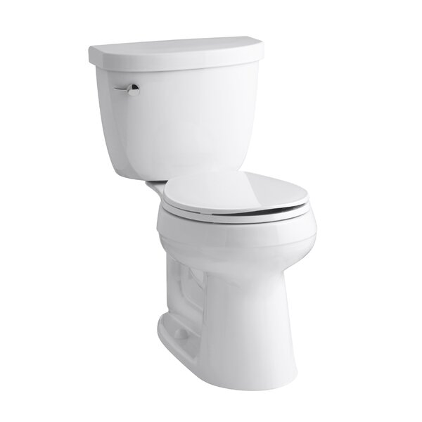 Cimarron Comfort Height 2 Piece Round-Front 1.28 GPF Toilet with Aquapiston Flush Technology and Left-Hand Trip Lever by Kohler
