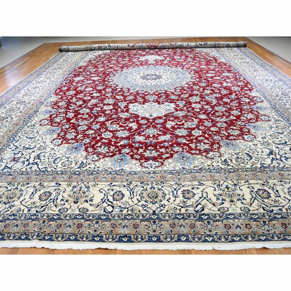 One-of-a-Kind Ivy Hill Hand-Knotted 2010s Nain Red/Beige 16'6 x 26'6 Silk Area Rug