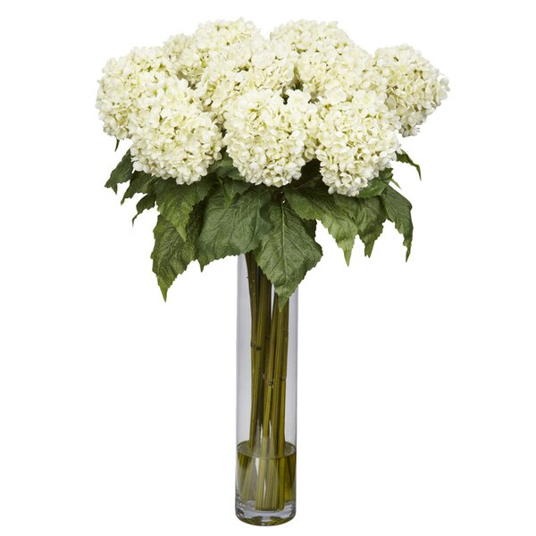 Hydrangea Silk Floral Arrangement in Vase by Nearly Natural