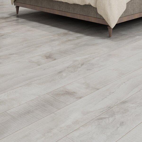 Summa 6.5 x 48 x 12mm Oak Laminate Flooring in Antique Pearl by Montserrat