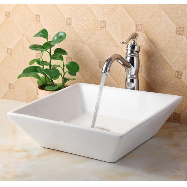 Ceramic Square Vessel Bathroom Sink by Elite