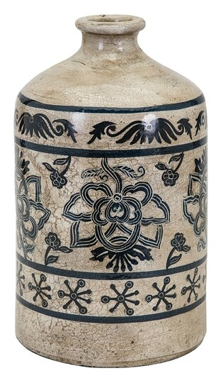 Beige/Black Hand-painted Vase by Bungalow Rose