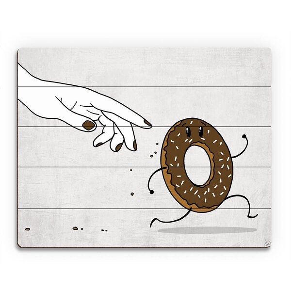 Wood Slats The Chase for Chocolate Donut Painting Print on Plaque by Click Wall Art