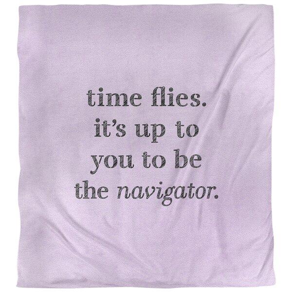 Quotes Handwritten Time Flies Single Reversible Duvet Cover