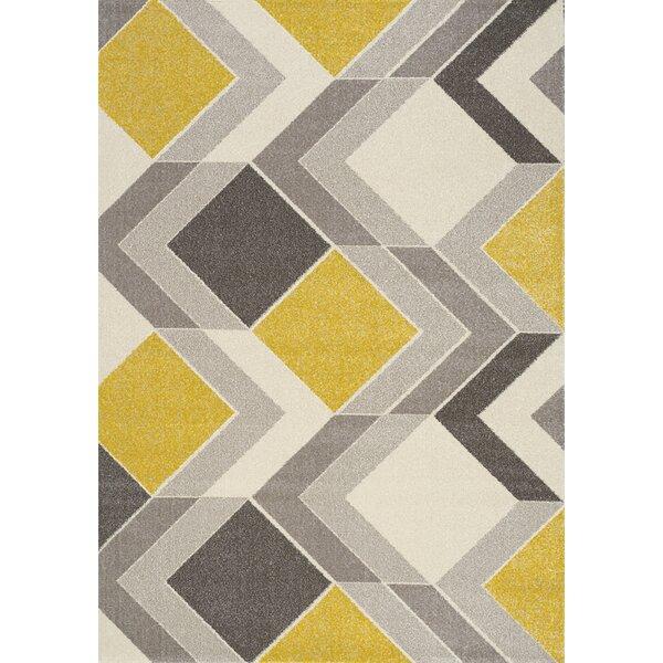 Wesley Cube Gray/Yellow Area Rug by Corrigan Studi