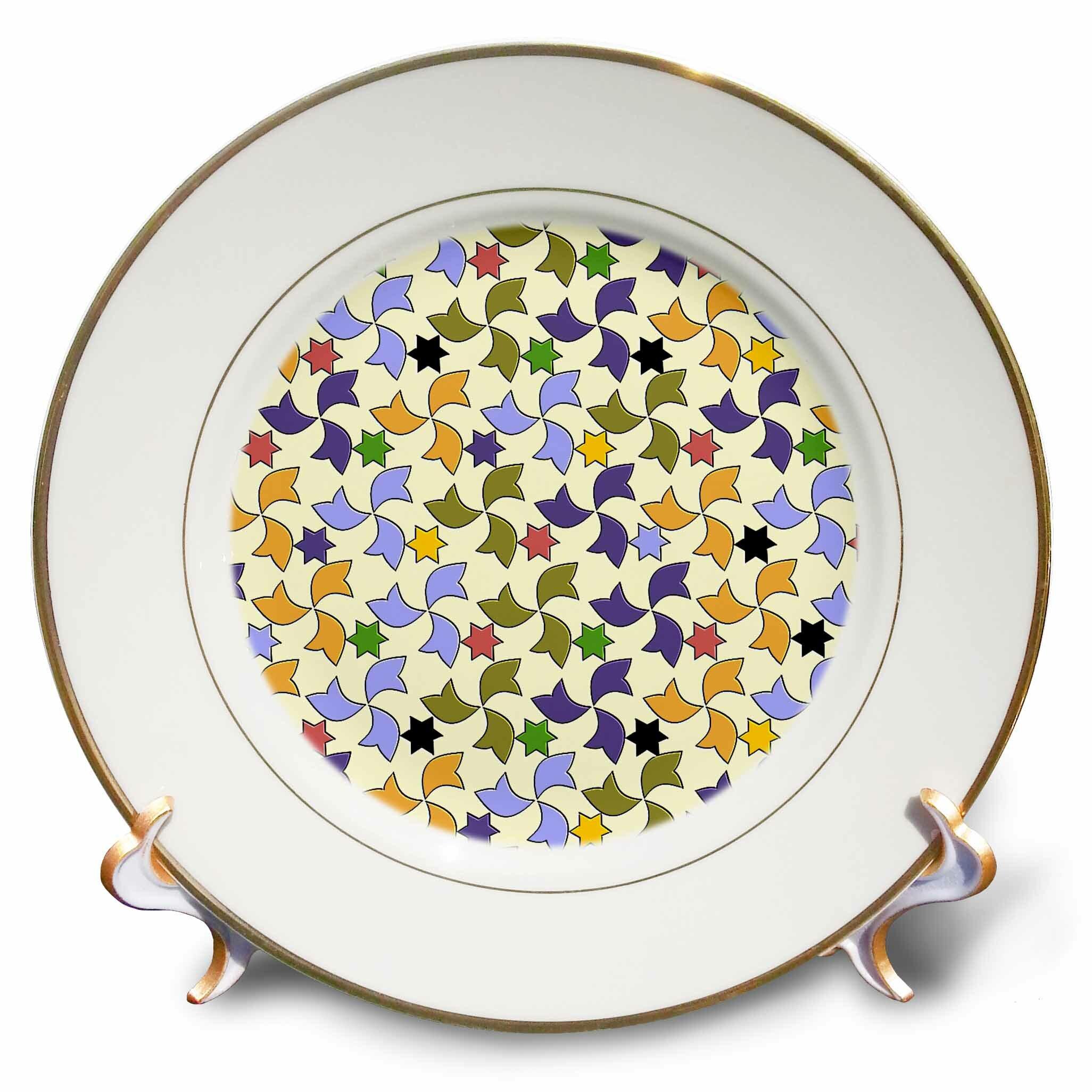 Transformation Palette En Jardiniere spanish windmills and stars geometric mosaic pattern porcelain decorative  plate