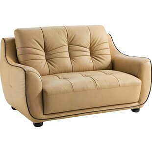 Claypool Leather Loveseat Latitude Run