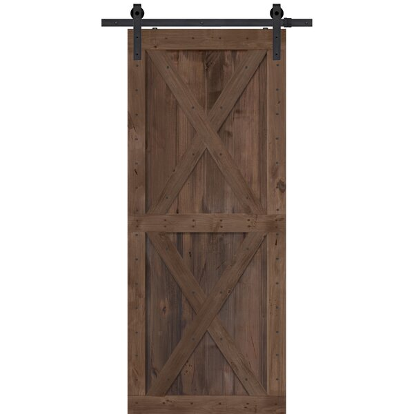 Double X Solid Wood Panelled Alder Interior Barn Door by Barndoorz