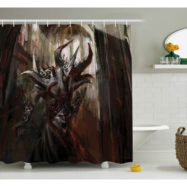 Fantasy World Armored Evil Monster Cathedral Apocalyptic Imaginary Knight Scary Print Shower Curtain by Ambesonne