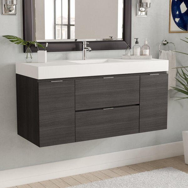 Tenafly 48 Single Wall Mount Modern Bathroom Vanity Set by Wade Logan