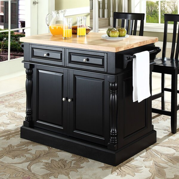 Haslingden Kitchen Island Set with Butcher Block Top by Three Posts