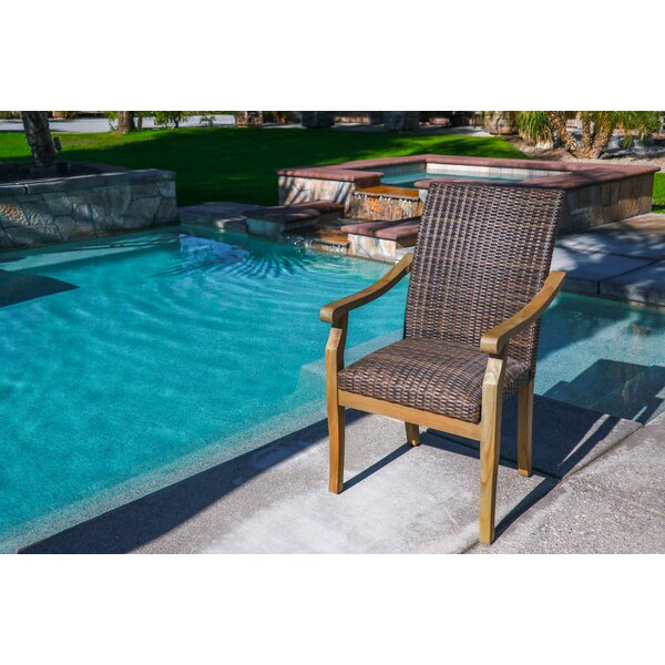Raya Stacking Teak Patio Dining Chair with Cushion by Bay Isle Home