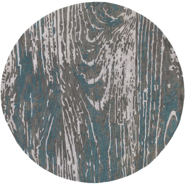 Fidela Abstract Hand Tufted Wool Teal/Dark Brown Area Rug by Williston Forge