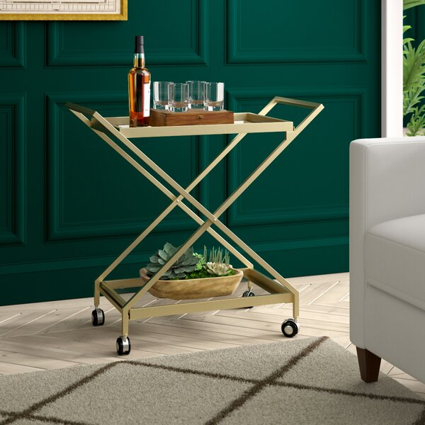 Gunnell Indoor Industrial Iron/Glass Bar Cart By Greyleigh Best #1
