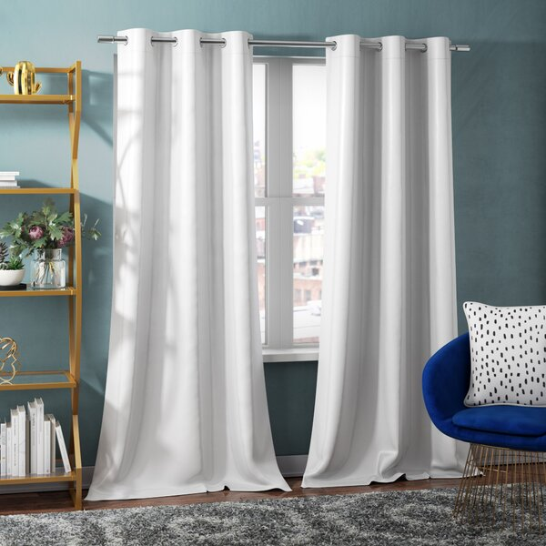 Imel Solid Light Filtering Thermal Grommet Curtain Panels (Set of 2) by House of Hampton