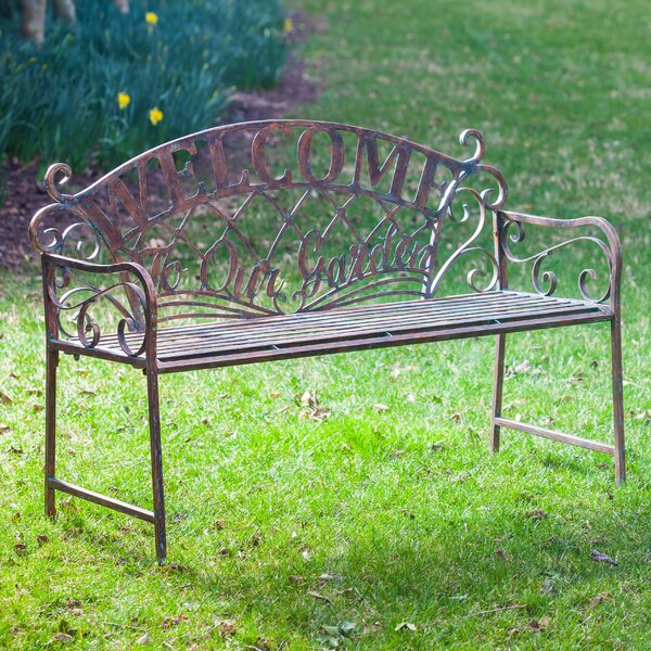 Hillingdon 'Welcome to our Garden' Metal Garden Bench by August Grove